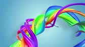 gays : multi-color ribbon is twisted and moves in a circle. Rainbow colored ribbon LGBT symbol animated in motion design with copy space. Looped smooth animation in 4K. Ver 75