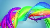 gays : multi-color ribbon is twisted and moves in a circle. Rainbow colored ribbon LGBT symbol animated in motion design with copy space. Looped smooth animation in 4K. Ver 83