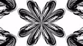 interessante : 4k loop animation with black and white ribbons are twisted and form complex structures like symmetric ornament pattern or kaleidoscopic effect. Seamless footage with luma matte as alpha channel. 2