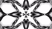 estetica : 4k loop animation with black and white ribbons are twisted and form complex structures like symmetric ornament pattern or kaleidoscopic effect. Seamless footage with luma matte as alpha channel. 20