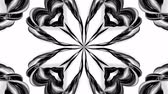 arabesco : 4k loop animation with black and white ribbons are twisted and form complex structures like symmetric ornament pattern or kaleidoscopic effect. Seamless footage with luma matte as alpha channel. 47 Vídeos