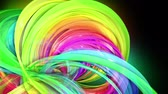 rechten : transparent colored lines with a neon glow on a black background. Motion graphics 3d looped background with multicolor colorful rainbow ribbons. Beautiful seamless background in motion design style 22 Stockvideo
