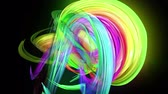 morphing : transparent colored lines with a neon glow on a black background. Motion graphics 3d looped background with multicolor colorful rainbow ribbons. Beautiful seamless background in motion design style 28 Stock Footage