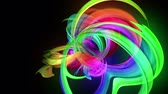 multi colored : transparent colored lines with a neon glow on a black background. Motion graphics 3d looped background with multicolor colorful rainbow ribbons. Beautiful seamless background in motion design style 45