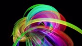 menšina : transparent colored lines with a neon glow on a black background. Motion graphics 3d looped background with multicolor colorful rainbow ribbons. Beautiful seamless background in motion design style 48