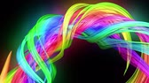кривая : transparent colored lines with a neon glow on a black background. Motion graphics 3d looped background with multicolor colorful rainbow ribbons. Beautiful seamless background in motion design style 54