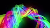 menšina : transparent colored lines with a neon glow on a black background. Motion graphics 3d looped background with multicolor colorful rainbow ribbons. Beautiful seamless background in motion design style 56
