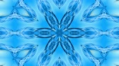 contínuo : Abstract snowflake in motion of the blue lines of ribbons on a blue background. Kaleidoscopic effect. Winter glass ice composition. 4k seamless frames with matte brightness as alpha channel. Vídeos