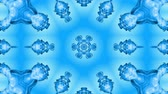 raggera : Abstract snowflake in motion of the blue lines of ribbons on a blue background. Kaleidoscopic effect. Winter glass ice composition. 4k seamless frames with matte brightness as alpha channel. Filmati Stock