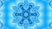 cartoon : Abstract snowflake in motion of the blue lines of ribbons on a blue background. Kaleidoscopic effect. Winter glass ice composition. 4k seamless frames with matte brightness as alpha channel. Stock Footage