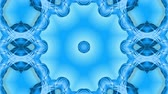 arabesco : Abstract snowflake in motion of the blue lines of ribbons on a blue background. Kaleidoscopic effect. Winter glass ice composition. 4k seamless frames with matte brightness as alpha channel. Vídeos