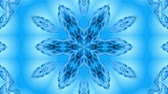 kesintisiz desen : Abstract snowflake in motion of the blue lines of ribbons on a blue background. Kaleidoscopic effect. Winter glass ice composition. 4k seamless frames with matte brightness as alpha channel. Stok Video