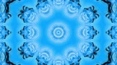 dalgalı : Abstract snowflake in motion of the blue lines of ribbons on a blue background. Kaleidoscopic effect. Winter glass ice composition. 4k seamless frames with matte brightness as alpha channel. 1