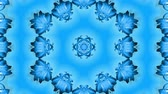 arabesco : Abstract snowflake in motion of the blue lines of ribbons on a blue background. Kaleidoscopic effect. Winter glass ice composition. 4k seamless frames with matte brightness as alpha channel. 3 Vídeos