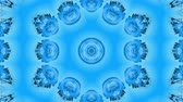 arabesco : Abstract snowflake in motion of the blue lines of ribbons on a blue background. Kaleidoscopic effect. Winter glass ice composition. 4k seamless frames with matte brightness as alpha channel. 4