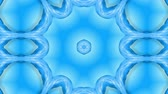サンバースト : Abstract snowflake in motion of the blue lines of ribbons on a blue background. Kaleidoscopic effect. Winter glass ice composition. 4k seamless frames with matte brightness as alpha channel. 10