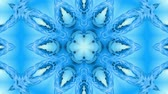 contínuo : Abstract snowflake in motion of the blue lines of ribbons on a blue background. Kaleidoscopic effect. Winter glass ice composition. 4k seamless frames with matte brightness as alpha channel. 11