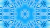 ruban bleu : Abstract snowflake in motion of the blue lines of ribbons on a blue background. Kaleidoscopic effect. Winter glass ice composition. 4k seamless frames with matte brightness as alpha channel. 12