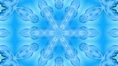 estetica : Abstract snowflake in motion of the blue lines of ribbons on a blue background. Kaleidoscopic effect. Winter glass ice composition. 4k seamless frames with matte brightness as alpha channel. 26