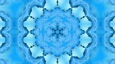 arabesco : Abstract snowflake in motion of the blue lines of ribbons on a blue background. Kaleidoscopic effect. Winter glass ice composition. 4k seamless frames with matte brightness as alpha channel. 28