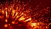 particulier : 4k 3d animation of red yellow glowing particles float in viscous liquid and glisten with light rays. It is bright festive background with depth of field, bokeh and luma matte as alpha channel. V18