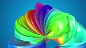 nastri colorati : abstract background with rainbow color stripes that moving in a circle and shiny on blue background in 4k. 3d seamless looped animation. Use luma matte as alpha channel to cut out rainbow structure Filmati Stock