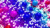 качество : 3D looped animation with bright beautiful small and large spheres or balls as an abstract holiday background. Сolorful composition of colorful spheres