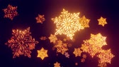 vločka : 3d golden christmas background with bokeh and depth of field of shiny toy snowflakes hanging in the air beautifully shiny slowly swaying and shining in the light. Beautiful 3d for new year in 4k