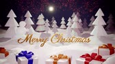 highly : 3d magical cartoon of Christmas Eve with magnificent shiny inscription Merry Christmas and christmas gifts in winter forest with snowdrifts, snowfall, moon and beautiful fireworks in night forest. Stock Footage