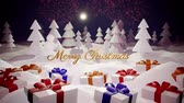esplêndido : 3d magical cartoon of Christmas Eve with magnificent shiny inscription Merry Christmas and christmas gifts in winter forest with snowdrifts, snowfall, moon and beautiful fireworks in night forest. Vídeos