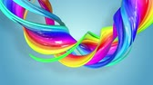 вдохновляющий : Fantastic beautiful ribbons of rainbow color twisted and bent, colorful creative background with soft smooth animation of lines and color gradients in 4k. Стоковые видеозаписи