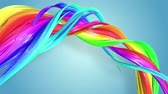 nastri colorati : Fantastic beautiful ribbons of rainbow color twisted and bent, colorful creative background with soft smooth animation of lines and color gradients in 4k. Filmati Stock