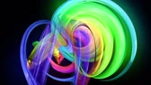 multi colored : Motion graphics 3d looped amazing background with multicolor colorful rainbow ribbons. Transparent colored lines with a neon glow on a black background.