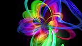 nastri colorati : Motion graphics 3d looped amazing background with multicolor colorful rainbow ribbons. Transparent colored lines with a neon glow on a black background.