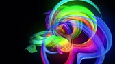 陽気 : Motion graphics 3d looped amazing background with multicolor colorful rainbow ribbons. Transparent colored lines with a neon glow on a black background.