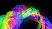azınlık : Motion graphics 3d looped amazing background with multicolor colorful rainbow ribbons. Transparent colored lines with a neon glow on a black background.