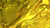 cleanness : Gold silky fabric forms beautiful folds in the air in slow motion. 4k 3D animation of wavy surface forms ripples like in fluid surface and the folds like in tissue. Animated texture. Stock Footage