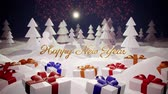 érdekes : 3d magical cartoon of Christmas tale with magnificent shiny inscription Happy New Year and christmas gifts in winter forest with snowdrifts, snowfall, moon and beautiful fireworks in night forest. 9