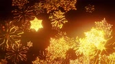 vločka : 3d golden christmas background with bokeh and depth of field of shiny toy snowflakes hanging in the air. Beautiful 3d for new year in 4k