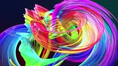 abstract background of transparent beautiful ribbons moving in circle, twisted lines, looped 3d animation with rainbow gradient colors transitions in glass ribbon. Close up 8