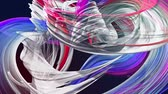 abstract background of transparent beautiful ribbons moving in circle, twisted lines, looped 3d animation with rainbow gradient colors transitions in glass ribbon. Close up 9