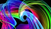abstract background of transparent beautiful ribbons moving in circle, twisted lines, looped 3d animation with rainbow gradient colors transitions in glass ribbon. Close up 13 Stock mozgókép