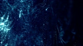 frekans : beautiful composition with blue luminous particles form wavy glow structures like in sci-fi or microworld or nano technology. 4k 3d looped smooth animation abstract background 4 Stok Video