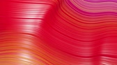 topografico : Beautiful abstract background of waves on surface, red yellow color gradients, extruded lines as striped fabric surface with folds or waves on liquid. 4k loop. 3