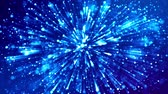 fantasztikus : blue shiny sparkling particles with light rays move in a viscous liquid. It is 4k 3d animation as abstract background for holiday presentations with luminous particles, bokeh and lights effects. V38