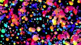 lekerekített : 4k looped abstract background with beautiful multi-colored balls like paint bubbles or dye droplets in water in flat style. 3d with luma matte as alpha channel. 10