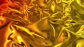 metalic : Animated metalic gradient in 4k. 3D render of wavy cloth surface that forms ripples like in liquid metal surface or folds in tissue. Red yellow gradient of foil forms folds in slow motion. 26