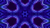 küme : 4k looped sci-fi 3d background with glow blue particles form lines, surfaces, complex symmetrical structures like star in kaleidoscope. Abstract theme of microworld or nanotechnology 11