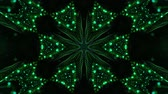 küme : 4k looped sci-fi 3d background with glow green particles form lines, surfaces, pattern, kaleidoscope structures. Abstraction symmetrical point structures of microworld in motion. 17 Stok Video