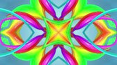nastri colorati : 4k seamless looped abstract background with multi-colored stripes are twisted between themselves and rotate forming complex structures as kaleidoscope effect.